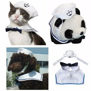 NEW-Sailor-Suit-Costume-Cotton-Clothes-For-Pet-Puppy-Dog-Cat-Hat-Cape-Outfit