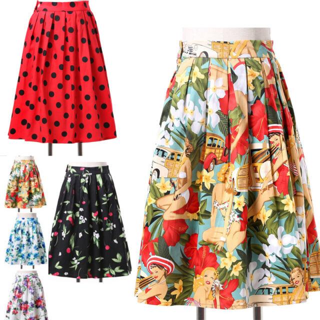 Tea Length Swing Retro Petticoat Polka Dot Skirt Casual Summer Dress