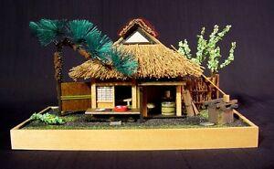 Vintage Japanese Miniature Micro Japanese Teahouse Diorama Hand Made T