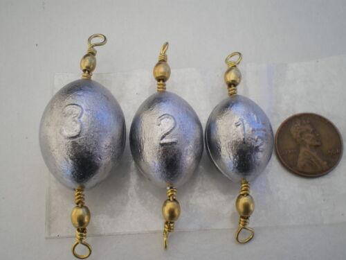 """#5 Laiton pivotant Oeuf Sinkers 1-1//2 3 oz environ 85.05 g 5 Ea 15 pcs G//Qualité /""""VOLONTAIRE/"""" 2"""