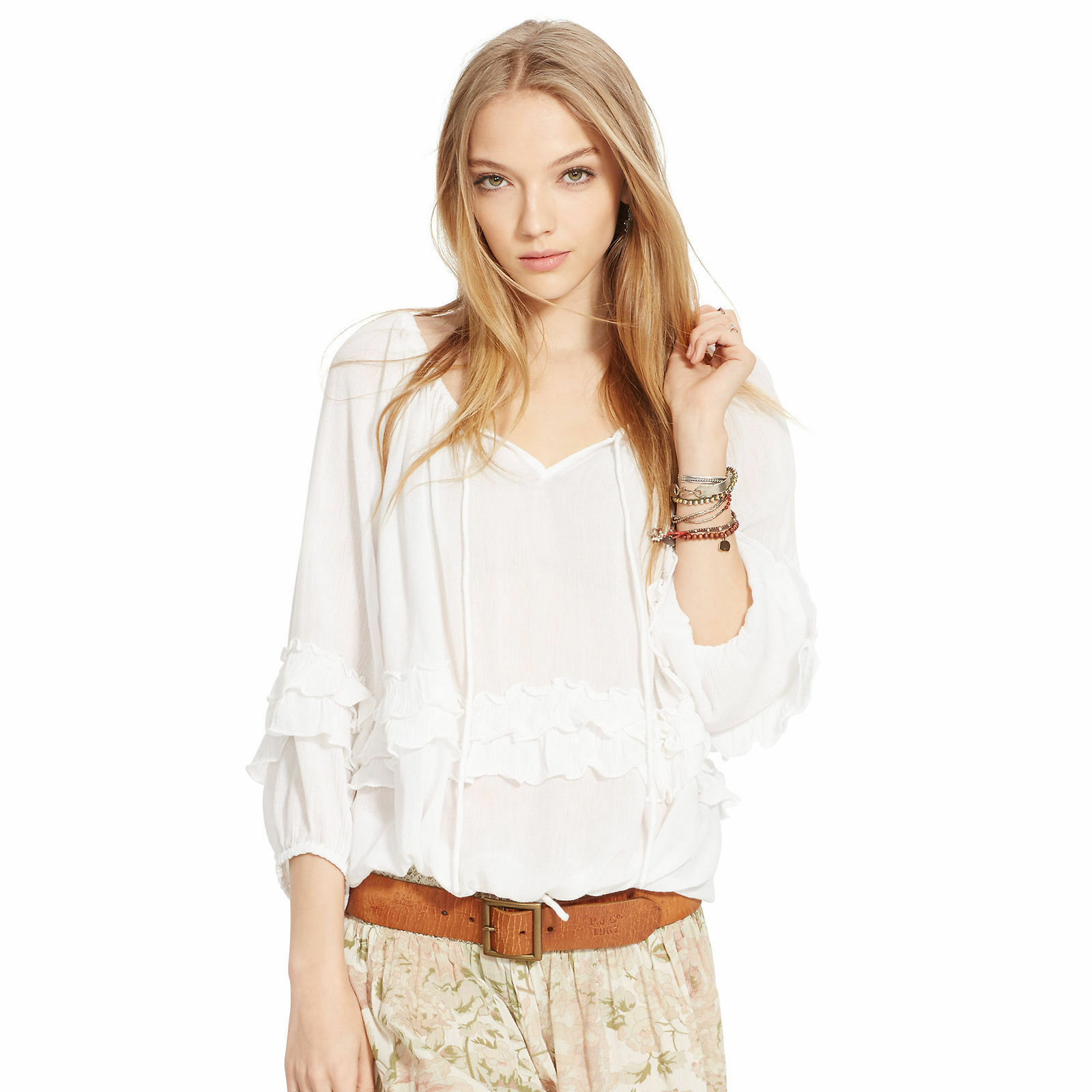 Denim & Supply Ralph Lauren Ruffled Boho Top Blouse in Ivory -  Small