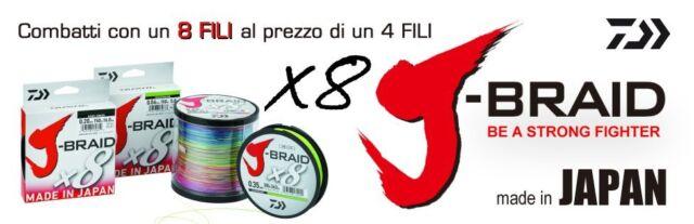 DAIWA J-BRAID X8 - TRECCIATO MT 300 MULTICOLOR - MADE IN JAPAN