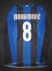 buy popular 7b5d6 7fa6b Details about 2008-2009 Nike Match Inter Milan Zlatan Ibrahimovic Long  Sleeve Home Jersey Kit