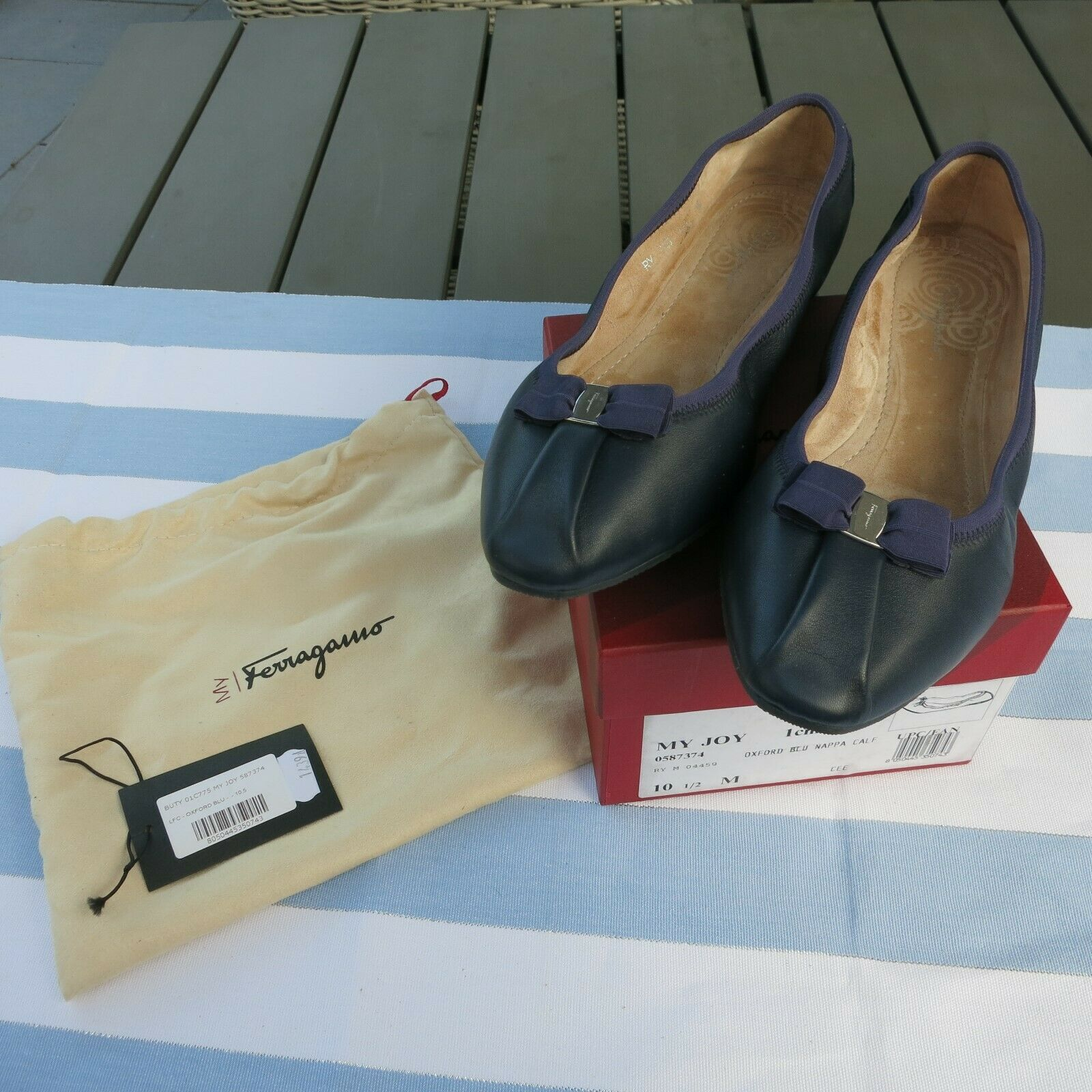 Salvatore Ferragamo My Joy Ballerina Size US 10,5 M DT. Size 41 Oxford blue NEW