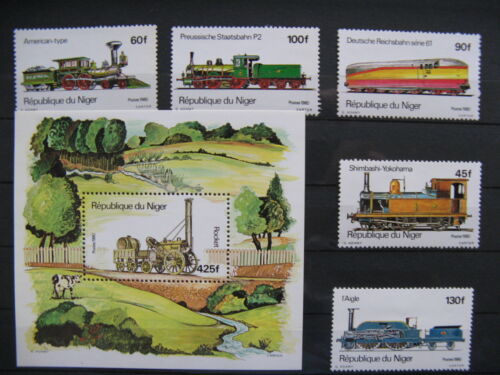 NIGER, set + S/S 1980 MNH, railway train cow