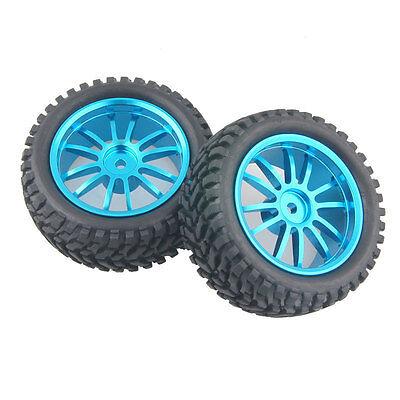 4x RC Aluminum Wheel Rubber Tires Sponge Rim HSP HPI 1:16 Off-Road Car 123B-7004