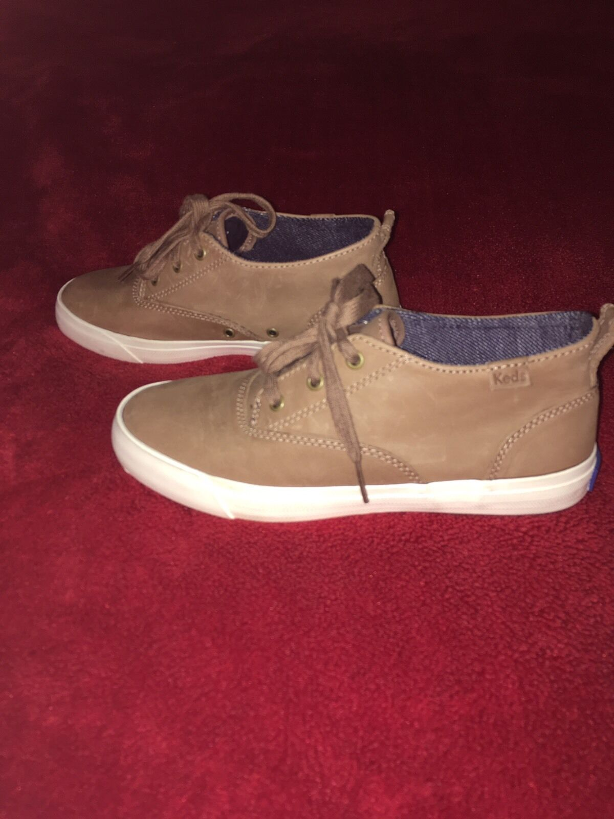 NEW Women's Keds Triumph Mid Leather Lace-Up Trainers In Brown-Size Uk 4   Eu 37