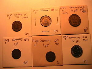 1948-1950-Lot-6-WEST-GERMANY-1-5-10-50-Pfenning-VF-Ch-BU-German-Deutsche-Coins