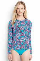Lands End Women's Long Sleeve Swim Tee Rash Guard Scuba Blue Pretty Paisley New
