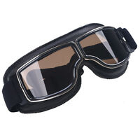 Leather Motorcycle Motor-x Scooter Aviator Pilot Glasses Helmet Eyewear Goggles