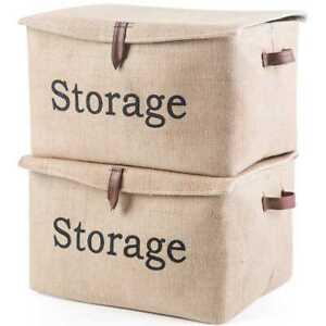 2X-Jute-Weave-Foldable-Kids-Toys-Storage-Boxes-Storage-Organizer-Basket-Lid-US