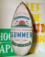 White Surfboard Wooden Sign Summer Tropical 57cm Wall Hanging Distressed Beach
