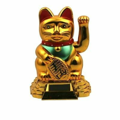 Lucky Cat 7 Waving Solar Power Powered Chinese Oriental Fortune Gold Maneki Neko