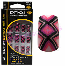 24 Faux ongles & colle Candy de Royal - violet rose noir et blanc -  false nails