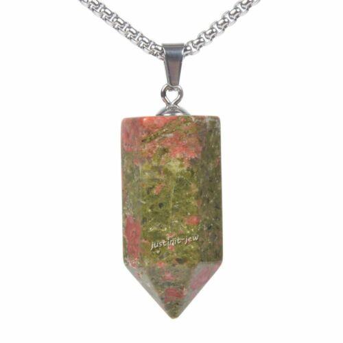 Gemstone cristal hexagonal pointu Chakra facettes prisme Baguette Pendentif Bijoux Set