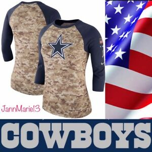 NEW Nike 2017 2018 NFL Salute to Service DALLAS COWBOYS Women Raglan ... b3c7db364