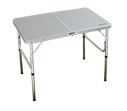 Lightweight &  compact bi-folding table with fibre board top - lead grey  good reputation
