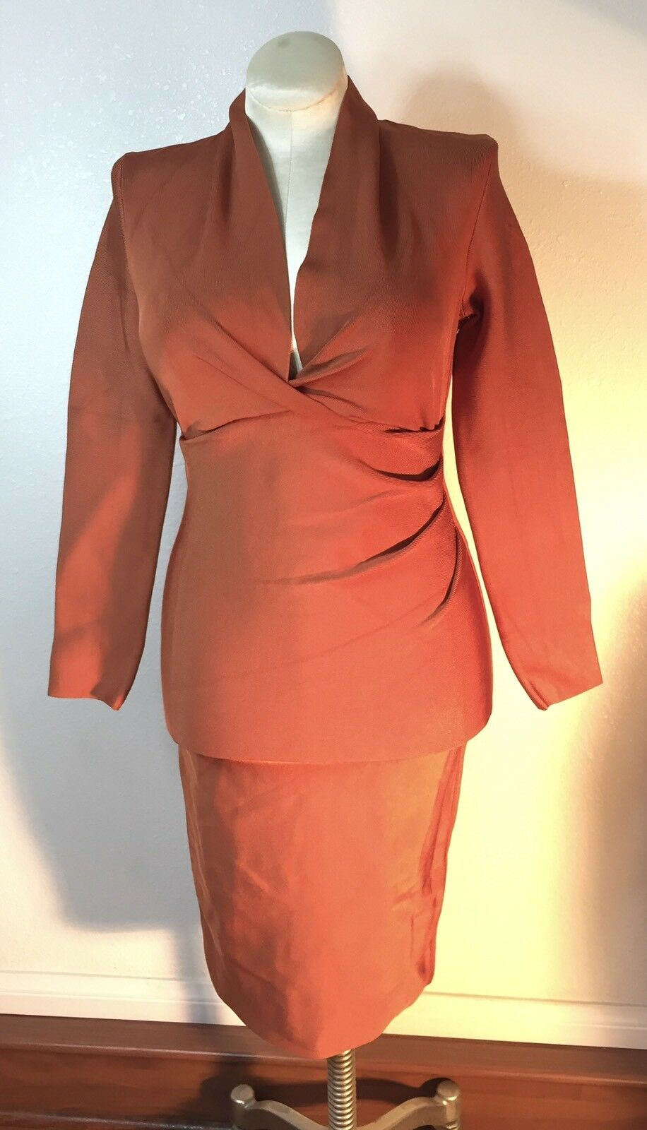 Whoinshop draped deep plunged long sleeve party dress women's size XL brown NWOT