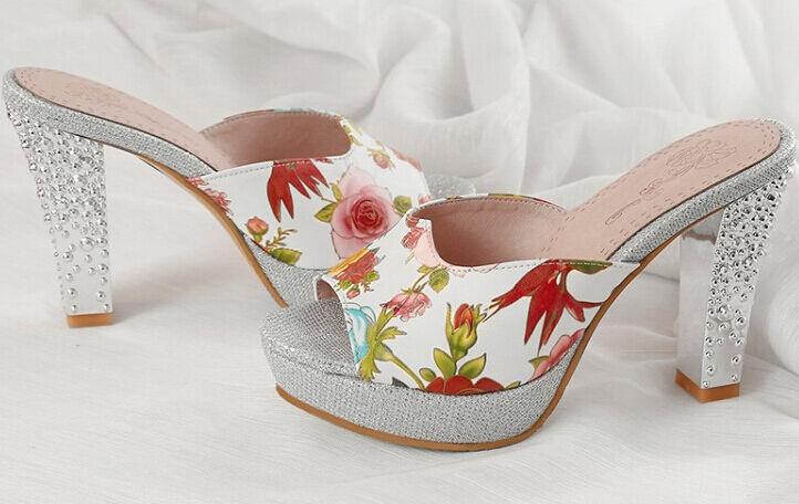Zapatos zapatillas zuecos sandalias tacón alto 10 cm plata flores élégant 9300
