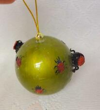 Vintage Bowl Lady Bug Papier Mache Craft Christmas Ornament