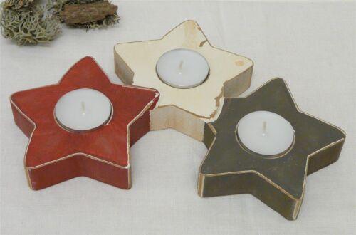 Deco bois Bougeoirs lumignons support 3 positions étoiles Advent 24 x 16 cm