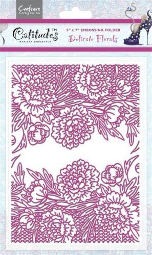 "Catitudes 5/"" x 7/"" Embossing Folder Delicate Florals"