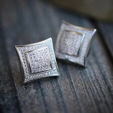 Iced Out Lab Diamond Hip Hop Square Sterling Silver Screw Back Earrings