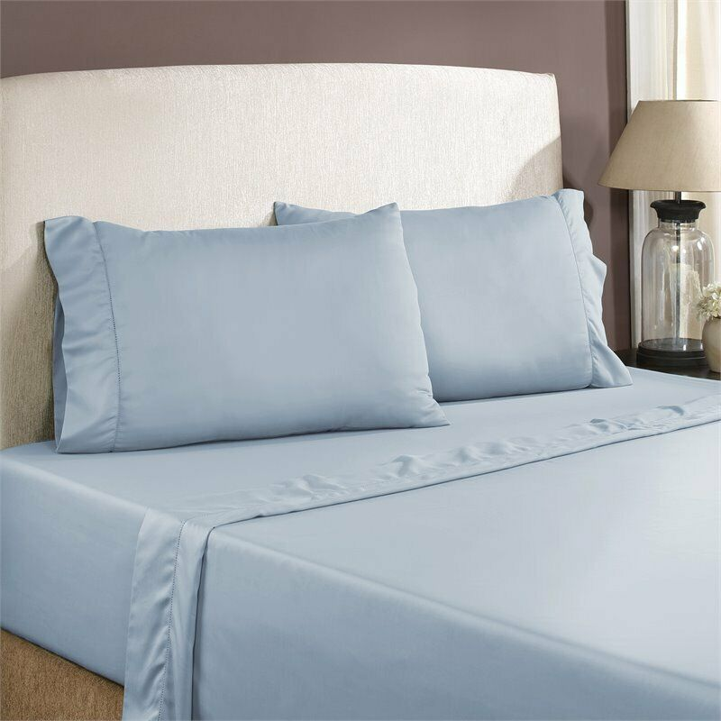 1200 thread count 4 piece sheet set blueeeee queen