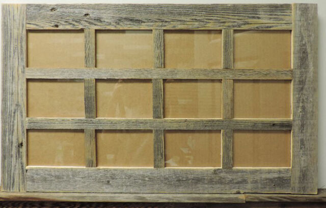 Rustic Reclaimed Barn Wood 12 Photo Picture Collage Frame For 4x6