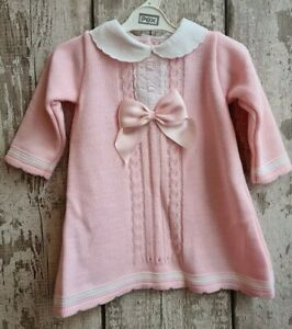 Spanish Style Baby Girl Knitted Dress In Pink With Pink Satin Bow Ebay,Gray And Beige Bedroom