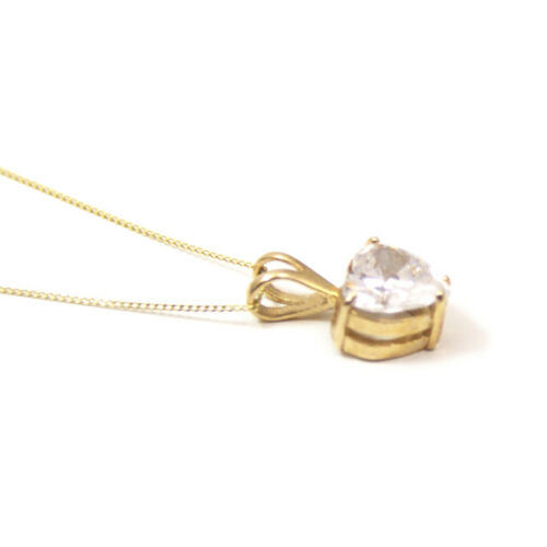 Pendant Diamond Unique 3ct Heart 9ct Gold Yellow Rose or White UK Hallmarked