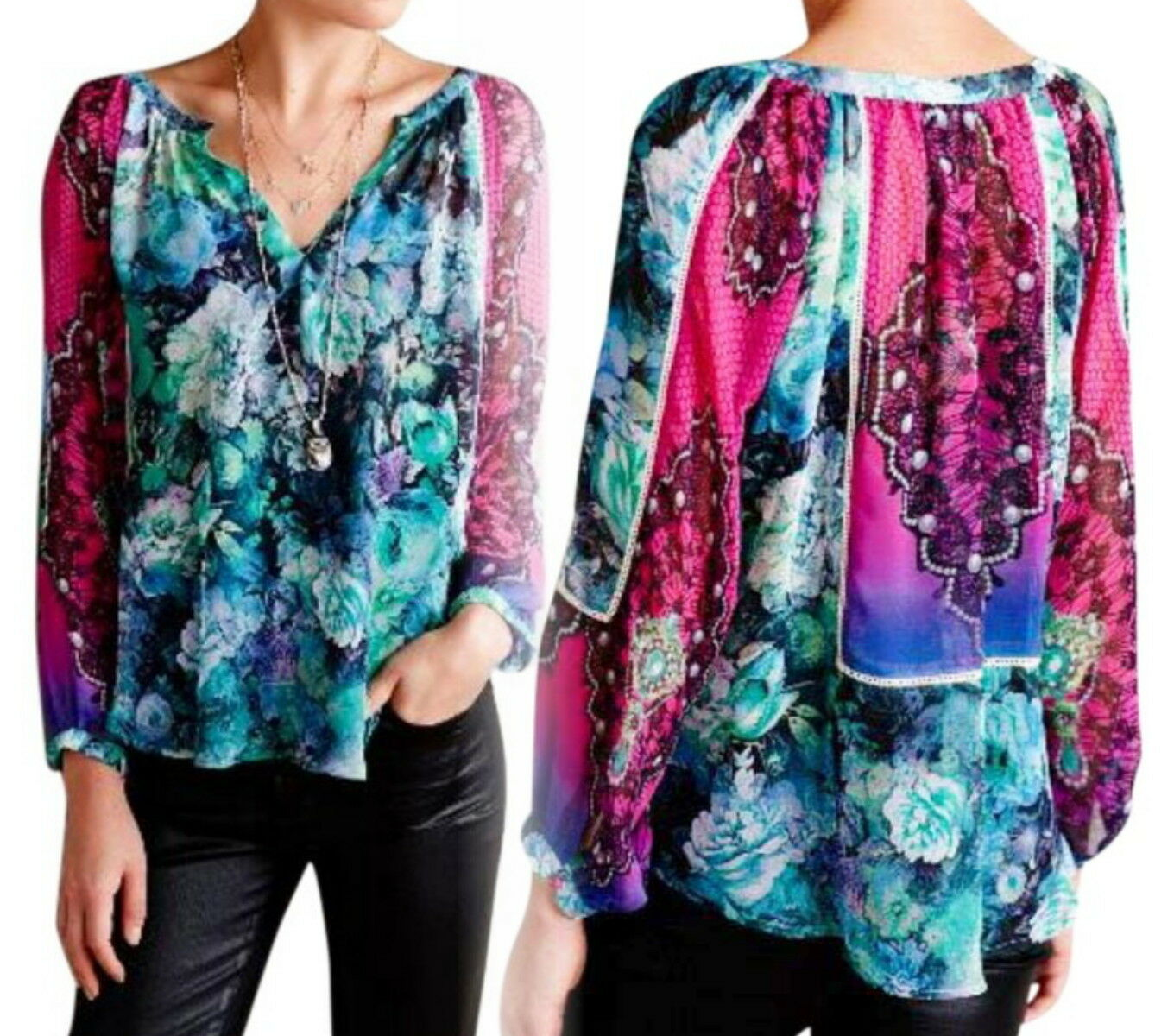 Anthroologie Femina Peasant Blouse Small 2 4 Top Floral Happy KAS New York
