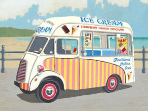 Picture Lynmouth Harbour Seaside Holiday Ice Cream Van Small Metal Tin Sign