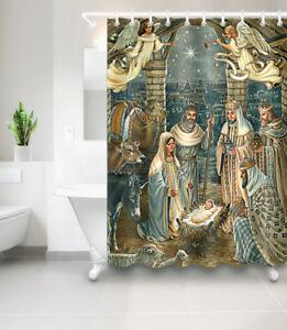 Image Is Loading Waterproof Fabric Welcome Nativity Jesus Bathroom Set Shower