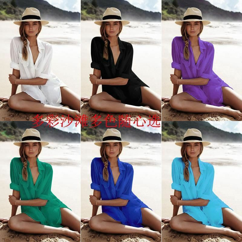 Beach Cover Up Robe Beach Wear Swimwear Women Summer Dress Kaftan Bathing Suit C
