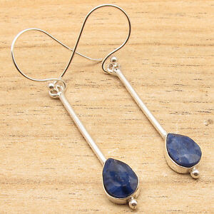 Drop-Simulated-SAPPHIRE-Earrings-925-Silver-Plated-Over-Solid-Copper-Jewelry