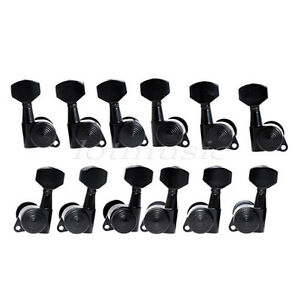 6l6r electric guitar black locking tuning pegs tuners machine heads button keys. Black Bedroom Furniture Sets. Home Design Ideas