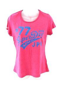 SUPERDRY-Womens-T-Shirt-Top-M-Medium-Pink-Cotton-amp-Polyester