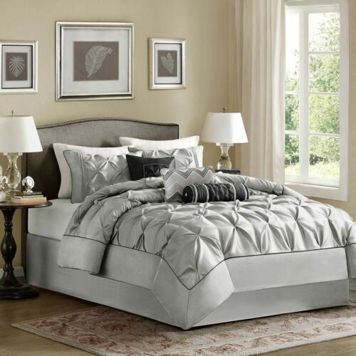 Full Queen Cal King Bed Silver Gray Grey Pintuck Pleat 7pc Comforter Set Bedding