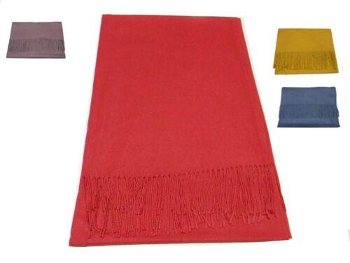 Sciarpa pashmina tipo lana unita donna viscosa lanosa rossa grigia rosa blu avio