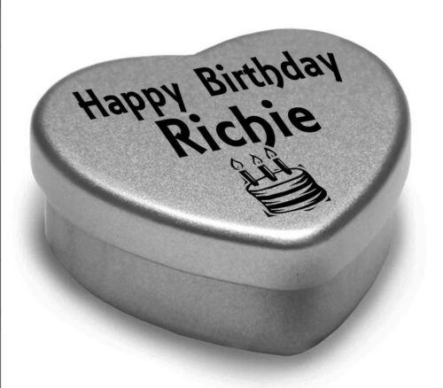 Happy Birthday Richie Mini Heart Tin Gift Present For Richie WIth Chocolates