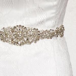 Vintage Crystal Rhinestone Sash Belt Beaded Bride Wedding Dress Gown