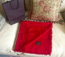 New  100% Authentic LOUIS VUITTON Monogram Red  Shawl Scarf LV 402336 RRP $600