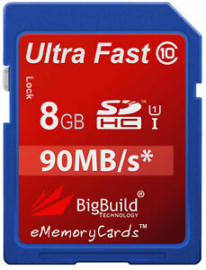 8GB Memory card for Canon PowerShot D10 CameraClass 10 80MB//s SD SDHC New UK