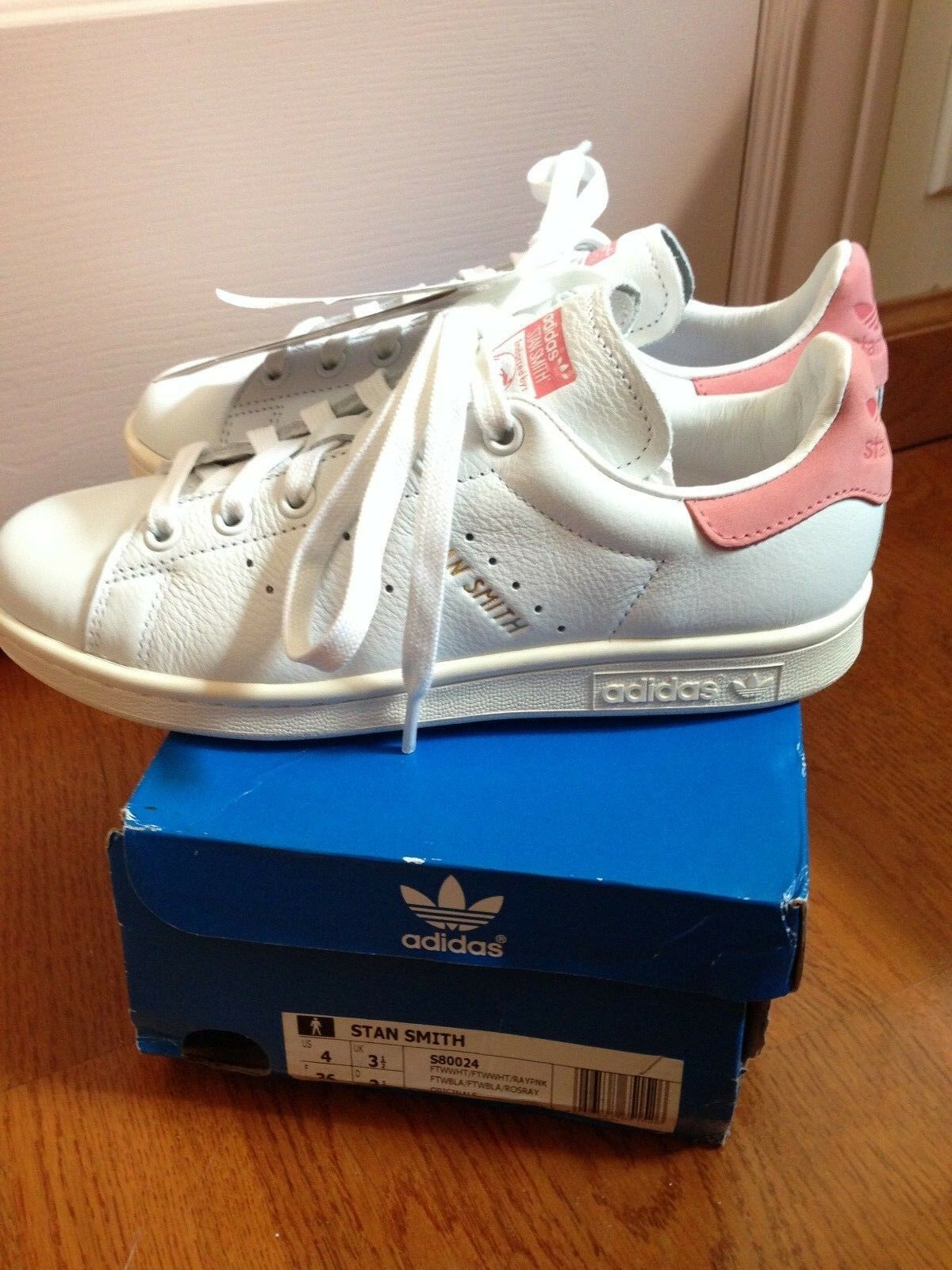 Adidas Stan Smith Raw Ray Pastel Pink White Men 4 Shoes Trainers Women 5 - 5.5
