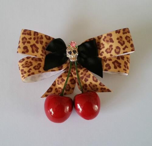 Rockabilly Pinup Hair Fascinator Clip Diamonte Skull Cherry Leopard Bow *NEW*