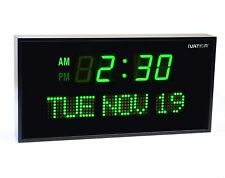 DBTech Digital Green LED Calendar Clock with Day and Date(12 inches - Green LED)