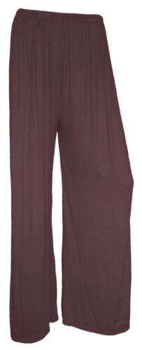 Mujer Talla Grande Liso Palazzo Pernera Ancha Mujer de Campana Pantalones 8-26