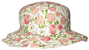 Donna Largo Con Falda Floreale Tulipano Design Cappello Da Sole Estivo