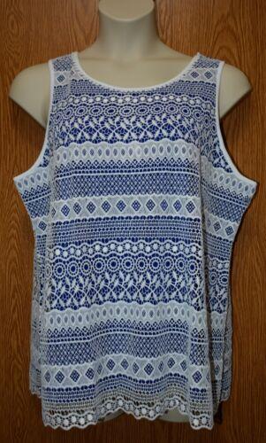 Womens Pretty White Lace Charter Club Sleeveless Shirt Size XXL NWT NEW